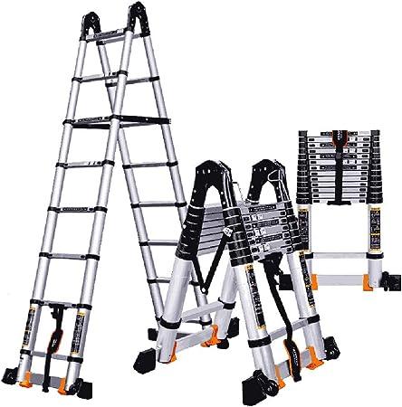 ZR- Escalera Retráctil 2.3-5.5M Telescópica/Escalera Recta/Escalera Plegable De Ingeniería/Para La Familia Del Ático. Aleación Aluminio -Fácil de almacenar y fácil de llevar: Amazon.es: Hogar