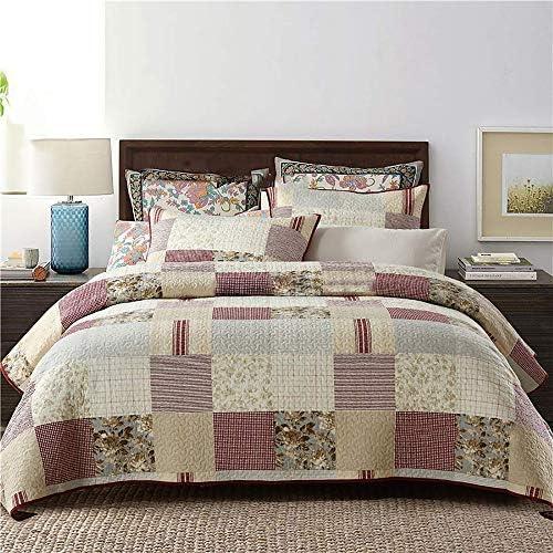 3ピースダブルベッドカバー、寝具100%エジプト綿洗えるベッドカバー、特大ダブルベッド、ベッド縫製カバー(230 x 250 cm)、枕2個(50 x 70 cm)