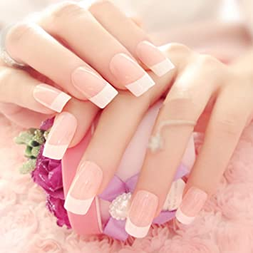 Huanghm French Nail Art Tip Ending Square Moon Striping Decoration