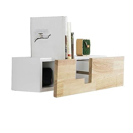 SoBuy FRG277-WN Libreria con cassetto a Muro Bianco in Legno ...
