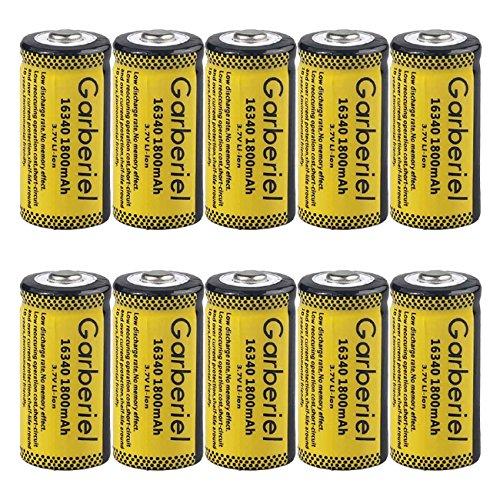 Garberiel 10-Pack 3.7v 16340 Li-ion Rechargeable Battery CR123A Battery for LED Flashlight by Garberiel (Image #1)