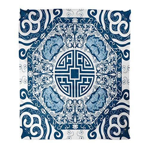 Emvency Throw Blanket Warm Cozy Print Flannel Blue Pattern Chinese Peony China Pottery Lotus Comfortable Soft for Bed Sofa and Couch 60x80 Inches