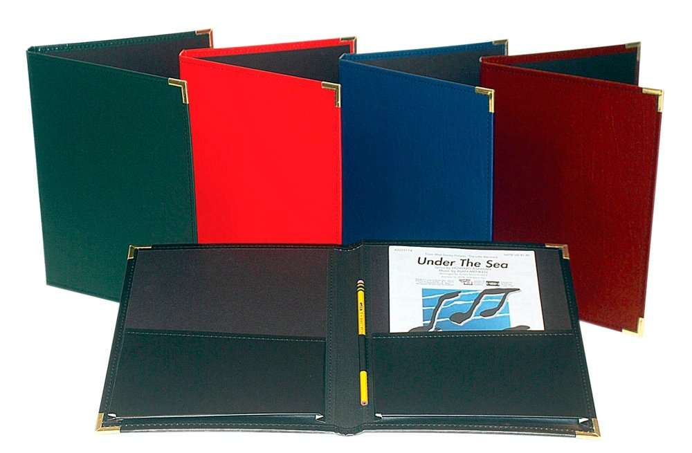 Marlo Plastics Band and Orchestra Rehearsal Folder 12 x 14 with Brass Corners and Pencil Loop Black 750478