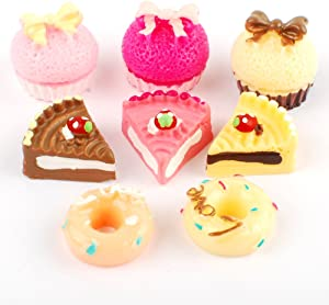 NW 8pcs 1/12 Mini Cake Dollhouse Decoration Play Food Set Kitchen Food Cake Donuts for Dollhouse Kitchen Decoration
