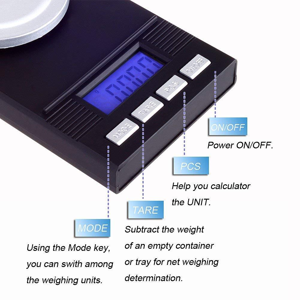 Milligram Scale - Báscula digital para joyería (100 g, 0,001 g, incluye pilas de pantalla LCD retroiluminadas)