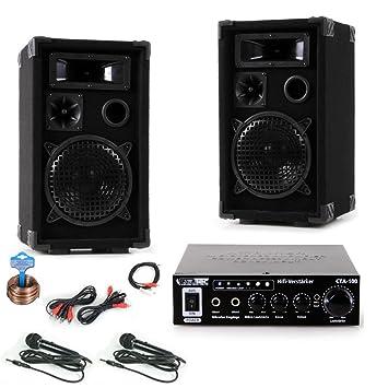 600W PA Karaoke Fiesta Compact Equpo de Música cajas amplificadores 2x micrófonos DJ Compact 2
