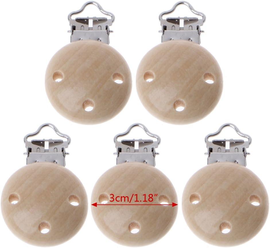 Youlin 5PCS Attache T/étine Bois Pince /à Sucette Clip Wooden Pacifier Chain Clip pour Bebe