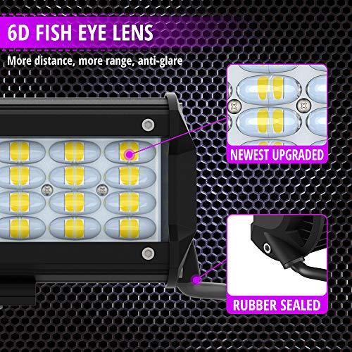 2 Pack IP68 Waterproof Super Bright Anti-glare Flood Driving Light for 4X4 Trucks Jeep ATV UTV SUV Boat ZUULLEN Light Pods 240W 24000LM Quad Row LED Spotlight 7 Inch Led Light Bar