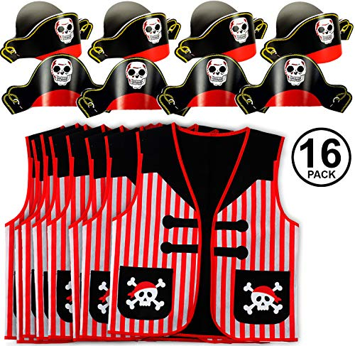 Tigerdoe Pirate Party Supplies- 8 Pirate Hats with 8 Pirate Vests - Pirate Party Favors - Pirate Theme Birthday