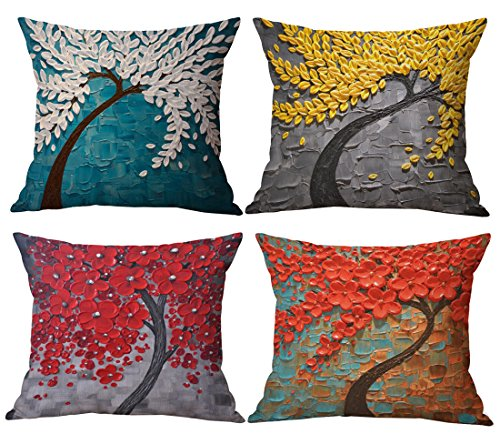 Geepro 18x18 inches Oil Painting Linen Cotton Pillow Case Covers Square Decorative Cushion Covers Set of 4 (Red)