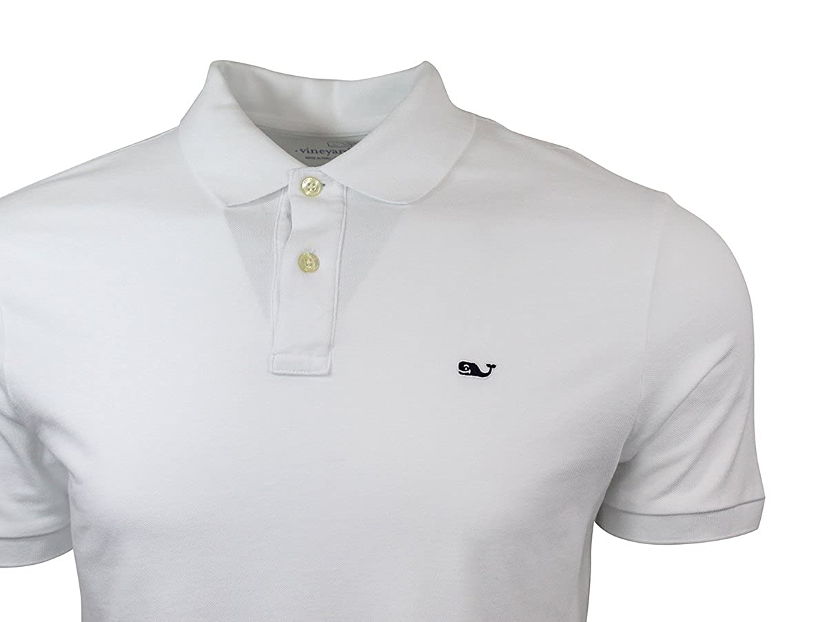 Vineyard Vines Mens Classic Fit Short Sleeve Stretch Polos Large, White Cap