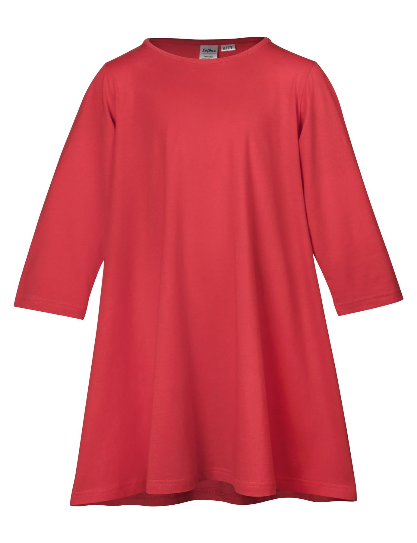 Lofbaz Girl's Comfy Cotton Long Sleeve Casual Dresses Solid Vibrant Red 5/6Y