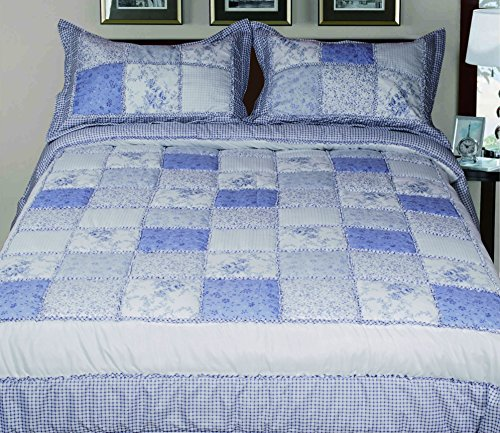 Livingston Home 3 Piece Garden Bed In A Bag with Quilted pillow Shams Square Quilt Desgin Comforter Set, Queen, - Macy Hk