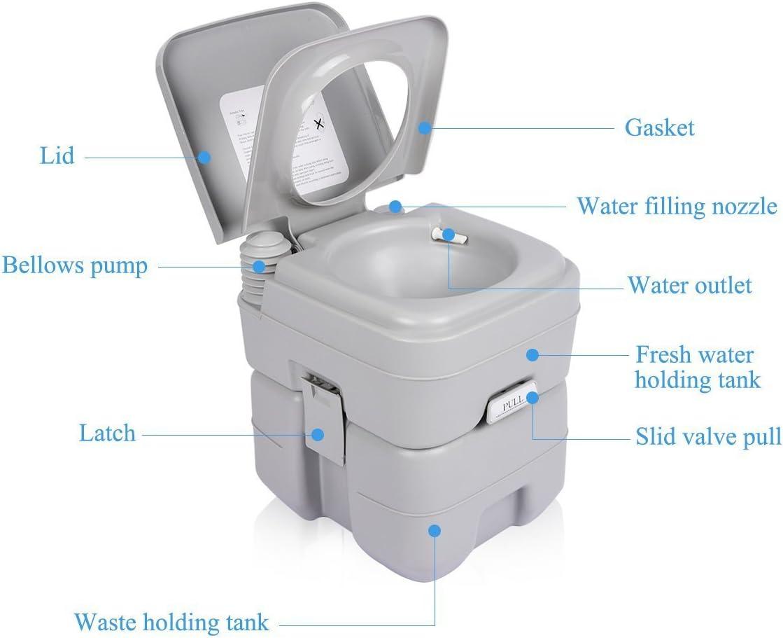 Samger WC Portátil para Cámping 20L Vater Portatil Inodoro Extraíble Químico Carga Máxima de 130kg para Autocaravana
