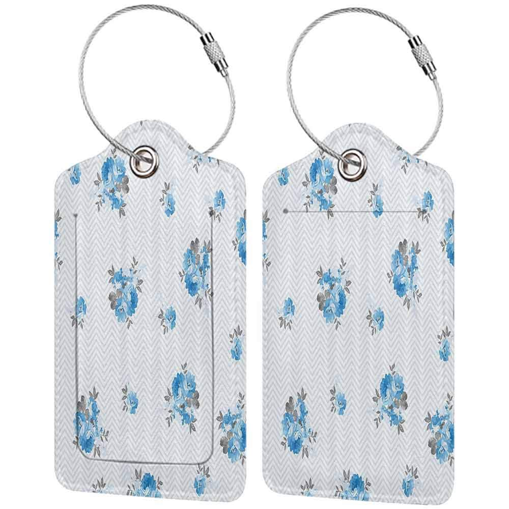 Modern luggage tag Rose Floral Theme Illustration of Blue Rose Flower Decorations Romantic Design Print Suitable for children and adults Blue and Grey W2.7 x L4.6