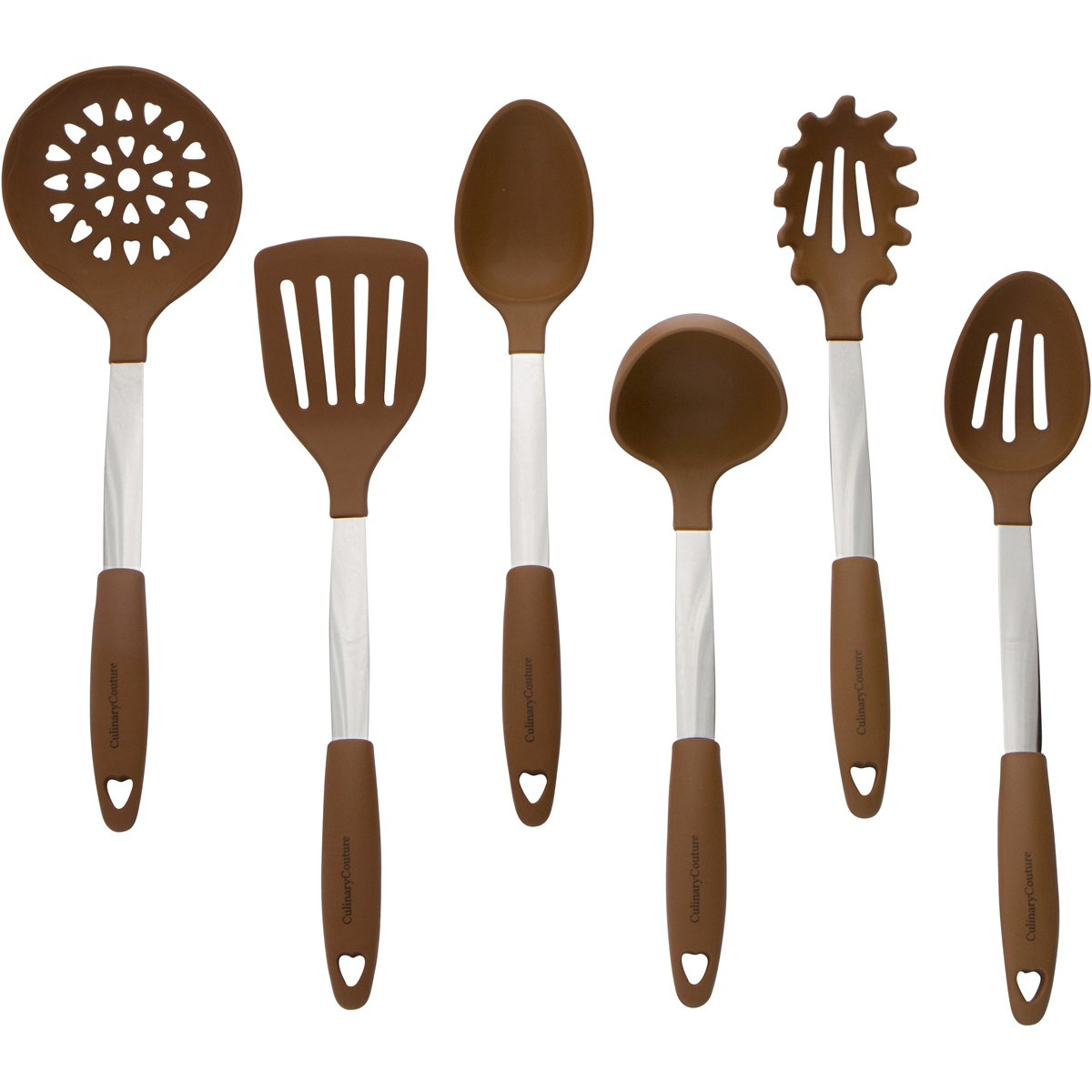 Brown Kitchen Utensil Set - Stainless Steel & Silicone Heat Resistant Professional Cooking Tools - Spatula , Mixing & Slotted Spoon , Ladle , Pasta Fork Server , Drainer - Bonus Ebook! Culinary Couture