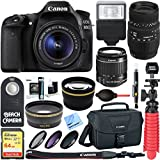 Canon EOS 80D CMOS DSLR Camera + 18-55mm IS STM & 70-300mm f/4-5.6 DG Macro Telephoto Zoom Lens Kit + Accessory Bundle 64GB SDXC Memory + Bag + Wide Angle Lens + 2x Telephoto Lens + Flash + Tripod