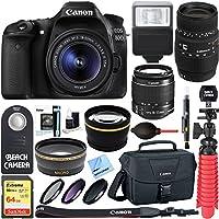 Canon EOS 80D CMOS DSLR Camera + 18-55mm IS STM & 70-300mm f/4-5.6 DG Macro Telephoto Zoom Lens Kit + Accessory Bundle 64GB SDXC Memory + Bag + Wide Angle Lens + 2x Telephoto Lens + Flash + Tripod