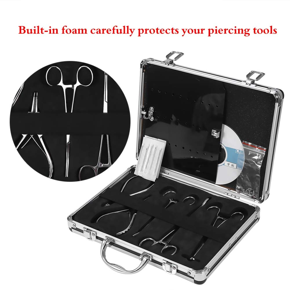 Professional Body Piercing Tattoo Tool Kit For Navel Ear Tongue Tattoo Gun Equipment Piercing Jewelry,Pliers, Needles,Case Set by GD Tool Store