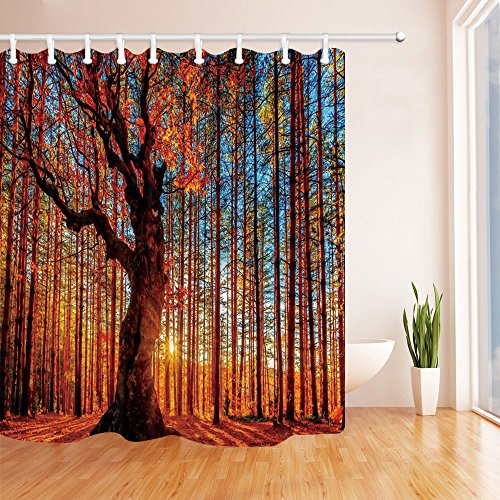 NYMB Landscape Decor, Nature Tree in Autumn Forest at Sunset Shower Curtain, 69X70 inches Mildew Resistant Polyester Fabric Shower Curtains Set Fantastic Decorations