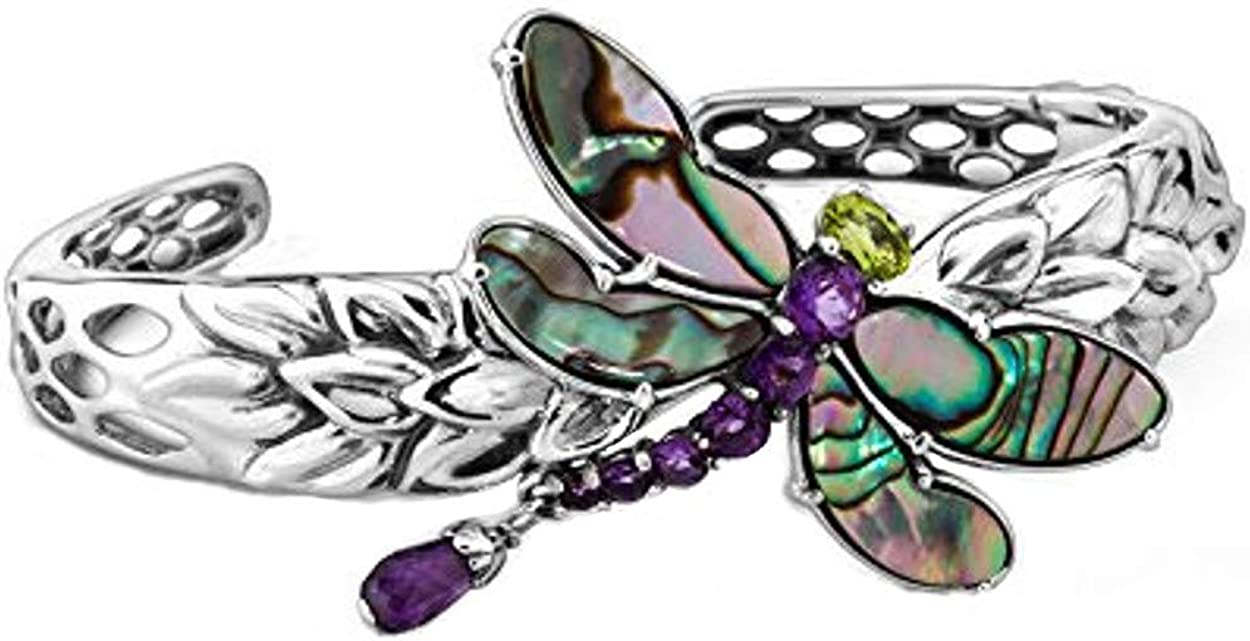 Carolyn Pollack Sterling Silver Abalone, Purple Amethyst and Green Peridot Gemstone Dragonfly Cuff Bracelet Size S, M and L
