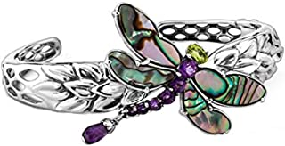 product image for Carolyn Pollack Sterling Silver Abalone, Purple Amethyst and Green Peridot Gemstone Dragonfly Cuff Bracelet Size S, M and L