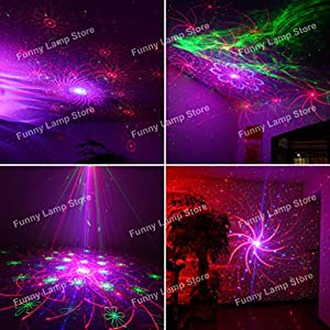 Starmate Family Stage Laser Projector Red Green Blue Laser with LED 80 Patterns Gobos RGRB Color Sound Activated Remote-control Decoration Lighting System for Party DJ Disco Club Xmas Christmas