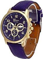 POTO New Waterproof Unisex Casual Geneva Faux Leather Quartz Analog Wrist Watch Fashion