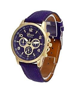 POTO New Waterproof Unisex Casual Geneva Faux Leather Quartz Analog Wrist Watch Fashion (Purple)