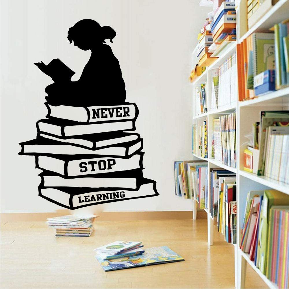 com wall stickers murals large girl reading books never