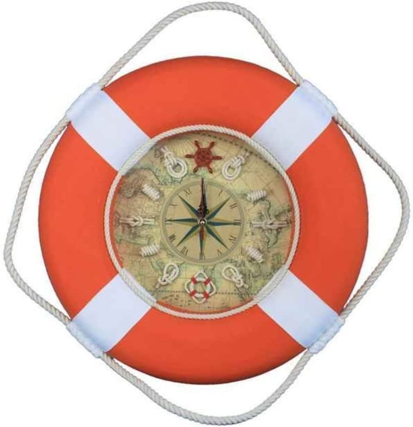 Hampton Nautical Vibrant Decorative Life Ring Clock with Bands Beach Theme Clock, 18 , Orange Blue