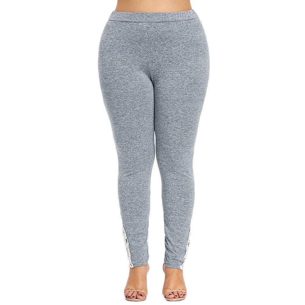 JUTOO Leggings de Yoga de Gran tamaño con Apliques de Encaje ...