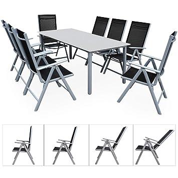 Casaria Salon de Jardin Aluminium Argent »Bern« 1 Table 8 chaises ...