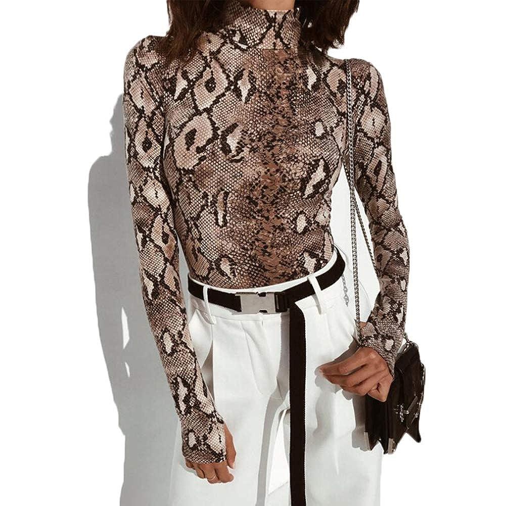 7611dce34dd7d7 Amazon.com: Women Long Sleeve Bodysuit Bodycon Sexy Snake Skin Print Turtle  Neck Stretchy Jumprsuit: Clothing