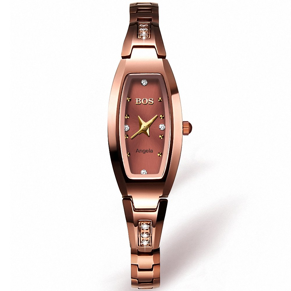 BOS Women's Quartz Watch Crystal Accented Rose Gold Stainless Steel Bracelet Wrist Watch (Rose Gold) (Rose gold)