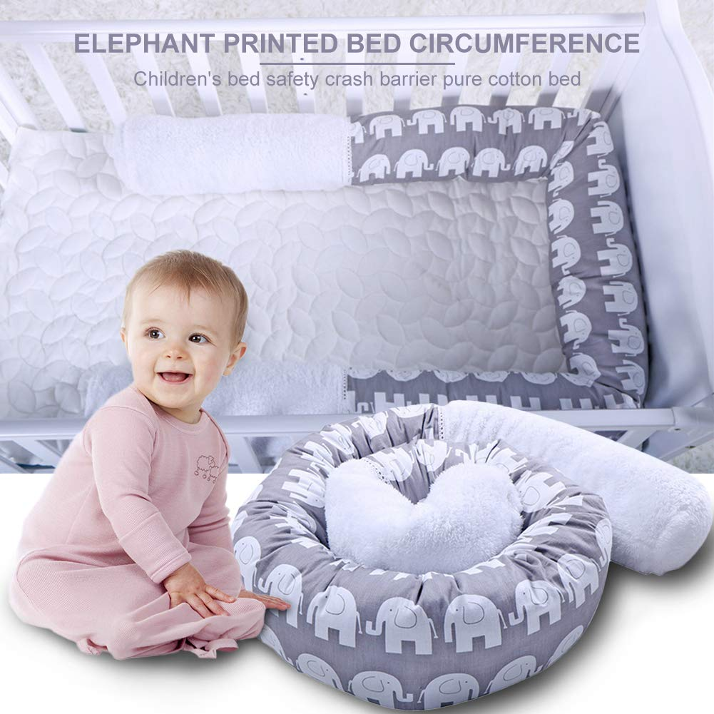 Crib Bumper Snake Pillow Protective, Decorative Long Baby Nursery Bedding Cushion Safety Collision Barrier Cotton Pillow Knot Plush Pillow for Toddler/Newborn Cradle Decoration