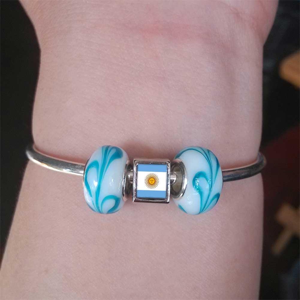 GiftJewelryShop Silver Plated Argentina Flag Photo Double Heart Charm Beads Bracelets European Bracelets