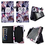 Multi Kitten Folio Case Fire 7 inch Slim Fit Pu Leather Standing Protective Cover for Amazon Fire 7 Tablet 2015 5th Gen Stylus Holder ID Slots