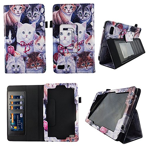 Multi Kitten Folio Case Fire 7 inch Slim Fit Pu Leather Standing Protective Cover for Amazon Fire 7 Tablet 2015 5th Gen Stylus Holder ID Slots by wirlesspulse