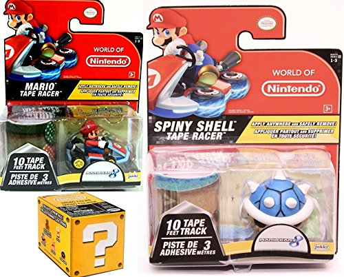 Nintendo Green Mushroom (Mariokart Video Game Car Mario with Mushroom Tape Racer & World of Nintendo Blue Spiny Shell Tape Racer Character + Blind Box Mystery Micro Figure wave 2 fun set)
