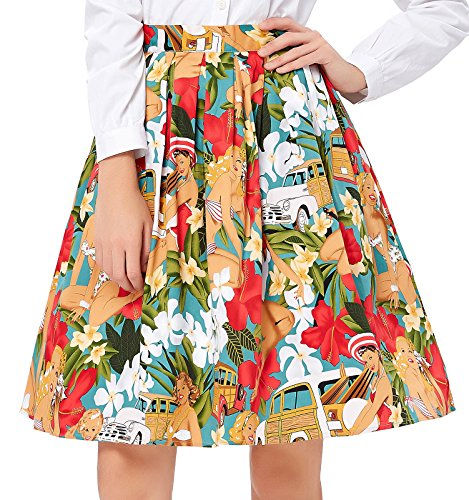 Floral 50s Retro Swing Skirt for Women A Line Size S CL6294-7 Button Pleated Mini Skirt