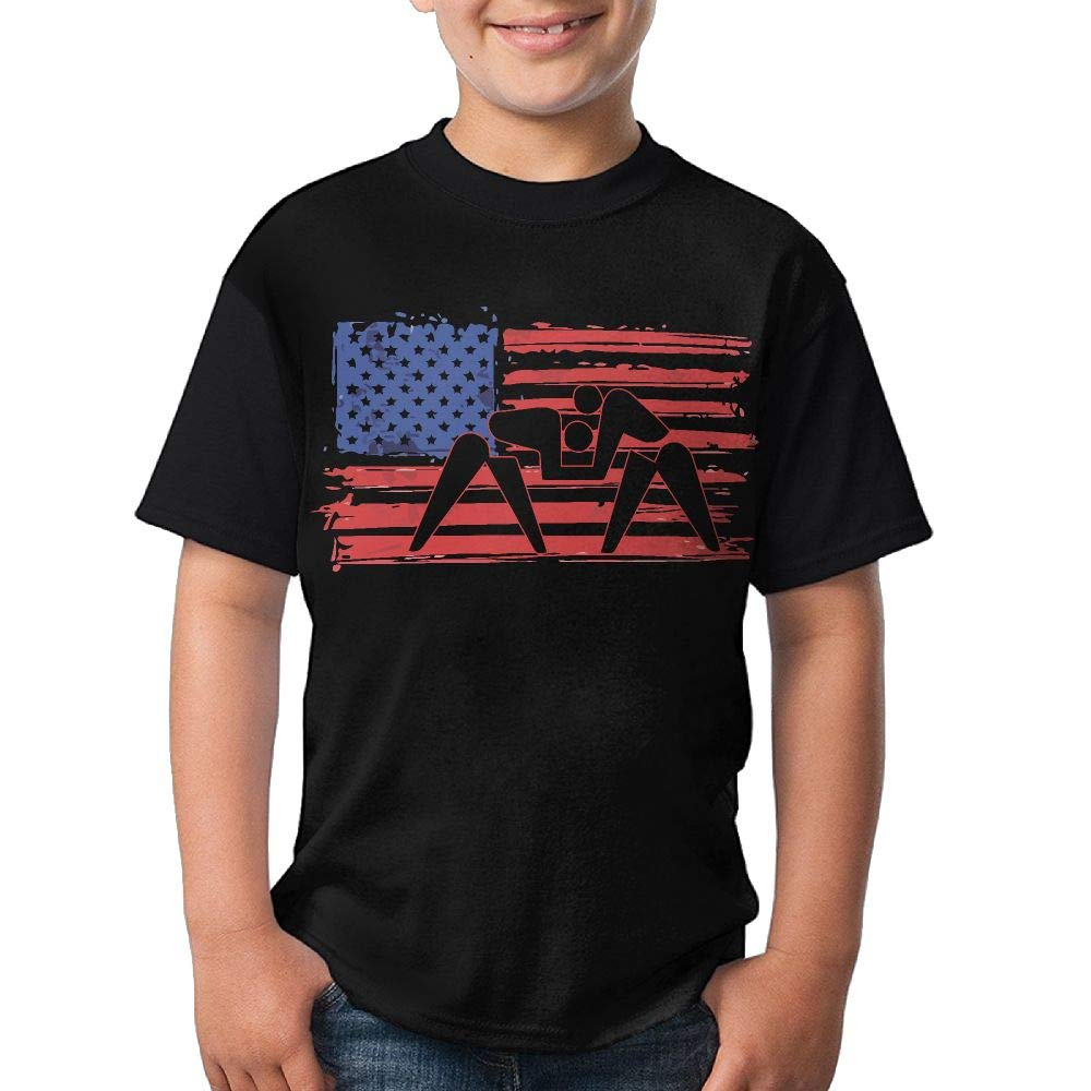 HUDS VIFV American Flag Wrestling Boys' Crew Neck Short Sleeve T Shirts Tees