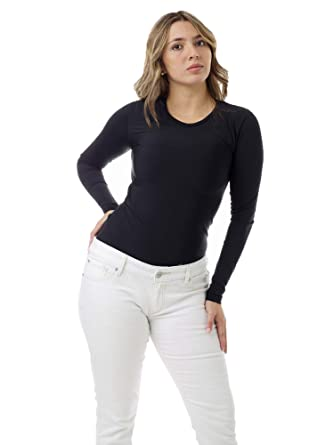 d0bf4c5edbe Underworks Women's Microfiber Light Compression Crew Neck Long Sleeves T- Shirt, X-Small