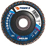 Weiler 51202 Tiger X Flap Disc, Ceramic and Zirconia Alumina, Angled, Phenolic Backing, 60 Grit, 4-1/2'', 7/8'' Arbor Hole (Pack of 10)