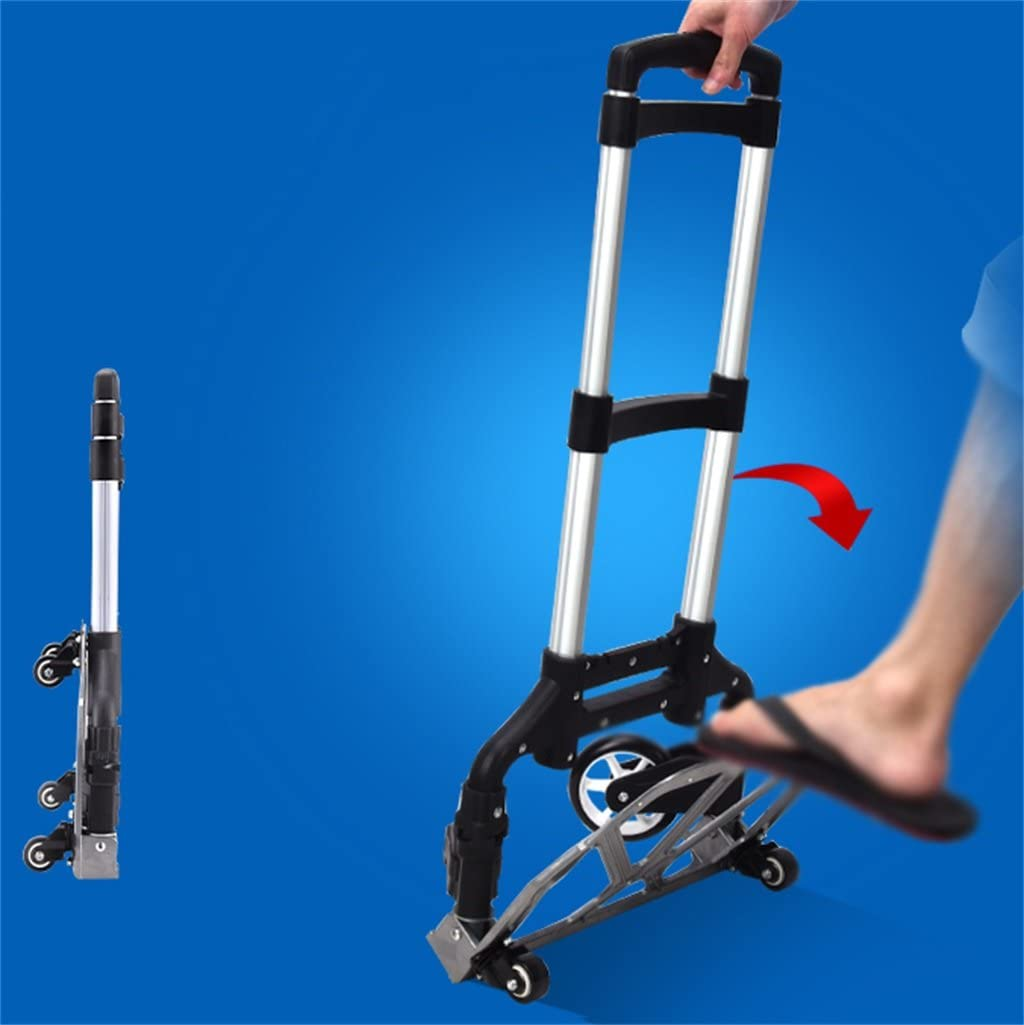 YONGMEI Shopping Baggage Collapsible Portable Aluminum Alloy Trolley can Withstand 75Kg Weight Color : Blue