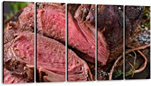 KiiAmy 5 Panels Art Wall Decor Venison elk Sirloin tip Roast Cervus elaphus Artwork Modern Canvas Prints Office Bedroom Home Decor Framed Painting Ready to Hang (60''Wx32''H)
