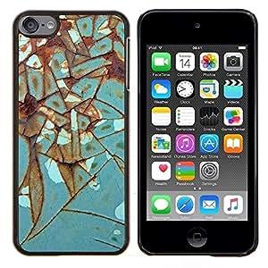 Rust Hierro Metal turquesa- Metal de aluminio y de plástico duro Caja del teléfono - Negro - iPod Touch 6