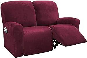 HUANXA Stretch Recliner Slipcover for 1 2 3 Seater Reclining, Velvet Sofa Cover for Recliner Furniture Protector for pet Kids-Wine red-Loveseat (6 PCS)