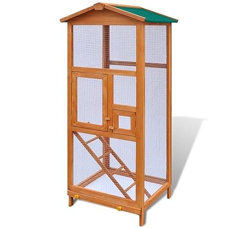 Festnight - Jaula para pájaros (madera maciza y 2 puertas, 65 x 63 ...