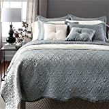 Luxury 3-Piece Reversible Quilt Set with Pillow Shams, as Bedspread Set/ Coverlet/ Bed Cover, Solid Color,Queen Size( 79''X91'') - 100% Cotton Soft, Lightweight (queen 3pcs, gray)